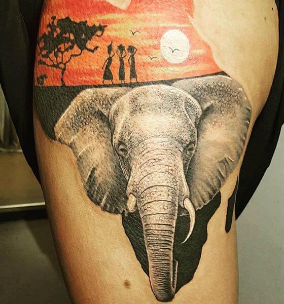 African Elephant Tattoo Design