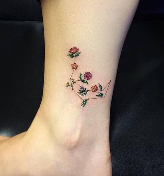 Aquarius tattoo on ankle