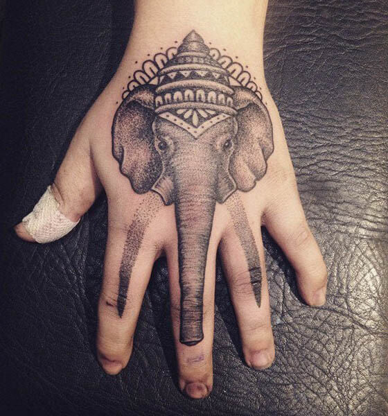 Beautiful Elephant Tattoo Design on Hand