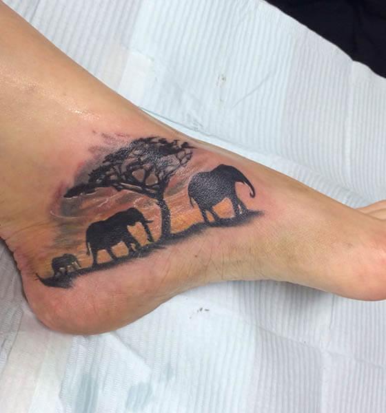 Black Elephant Tattoo on Ankle