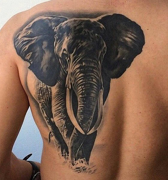 Black Elephant Tattoo Design on Back