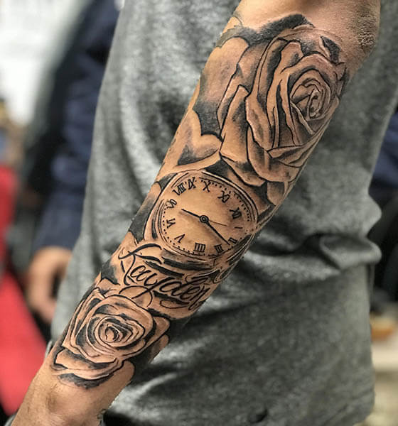 Clock and Rose Tattoo on Forearms