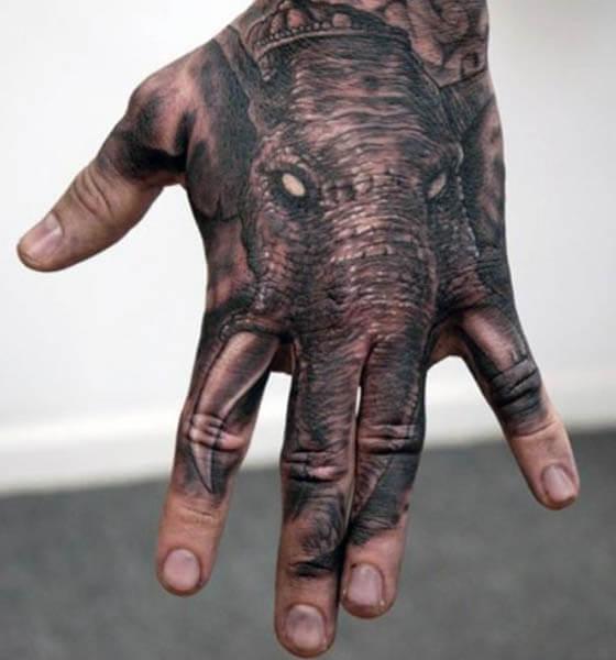 Dark Elephant Tattoo on Hand
