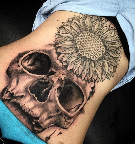 Deadly Skull Stomach Tattoo Design