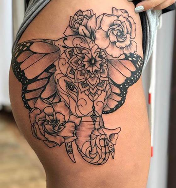 Elephant Tattoo with Flowers on Hip