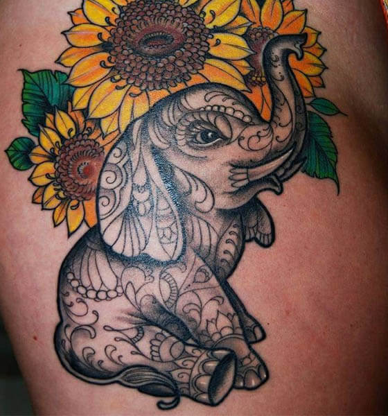 Elephant and Sunflower Tattoo Ideas