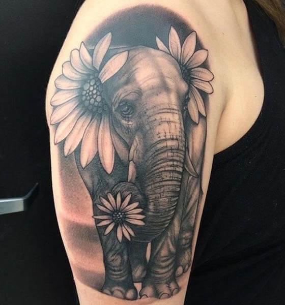 Elephant and Sunflower Tattoo Design on Sleeve