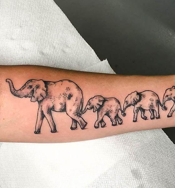 Family Elephant Tattoo Design