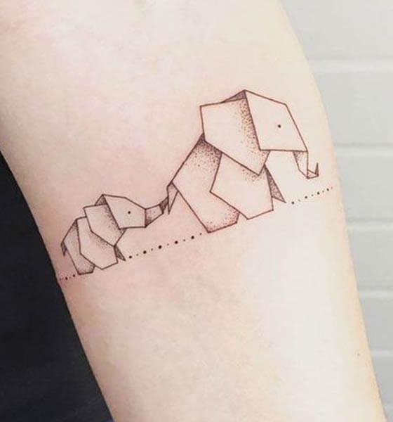 Geometric Elephant Tattoo on Hand