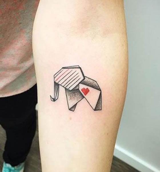 Beautiful Geometric Elephant Tattoo