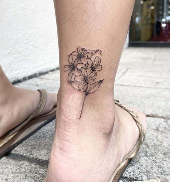 Jasmine Tattoo on Ankle