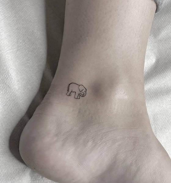 Minimalist Elephant Tattoo on Ankle