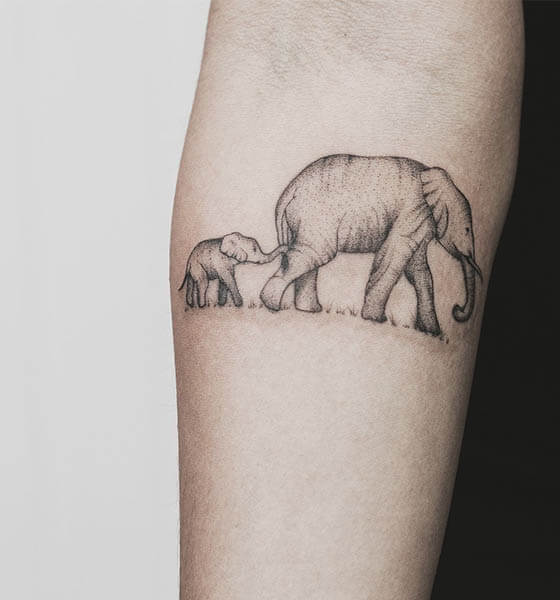 Mommy with Baby Elephant Tattoo