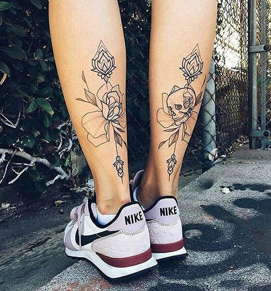 Pretty Tattoo Design on Calves