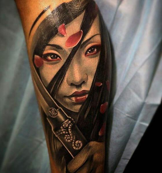 Sword Tattoo with Geisha