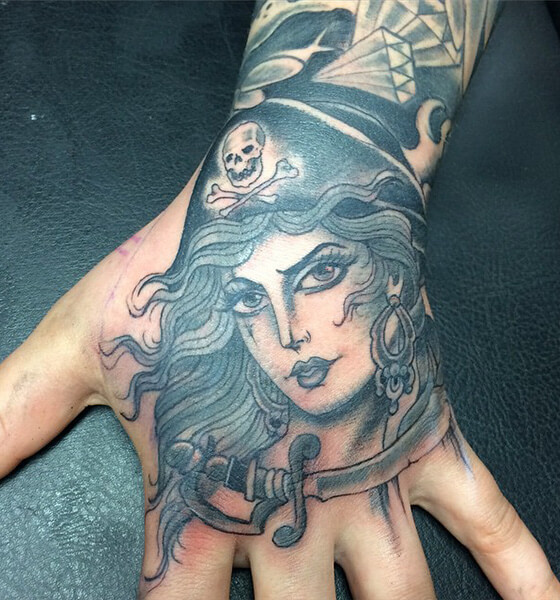 Sword with Pirate Tattoo on Hand