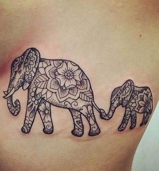 Tribal Elephant Tattoo Design for Women