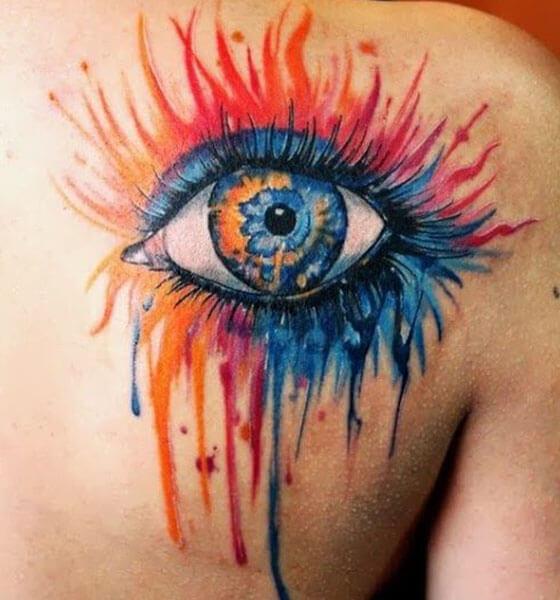 Colorful Eye Tattoo Design