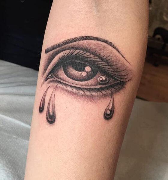 Crying Eye Tattoo on Sleeve
