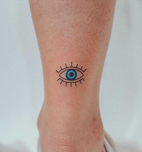 Evil Eye Tattoo on Leg