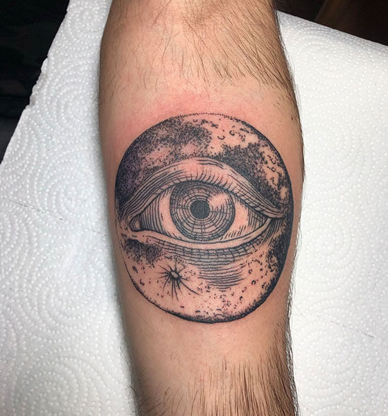 Eye with Crescent Moon Tattoo Design
